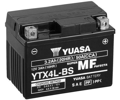 Yuasa Back-up Aux Startbatteri Ytx4l-bs   Adly Motorcycles - Kawasaki Motorcycles - Vespa Motorcycles - Suzuki Motorcycles - Sachs Motorcycles - Puch
