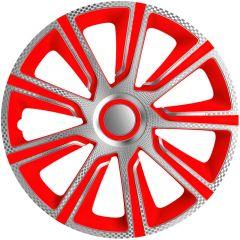 Navkapslar set Veron 14 tum silver/röd/kol-look