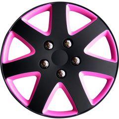 Navkapslar set Michigan 14 tum matt svart/rosa