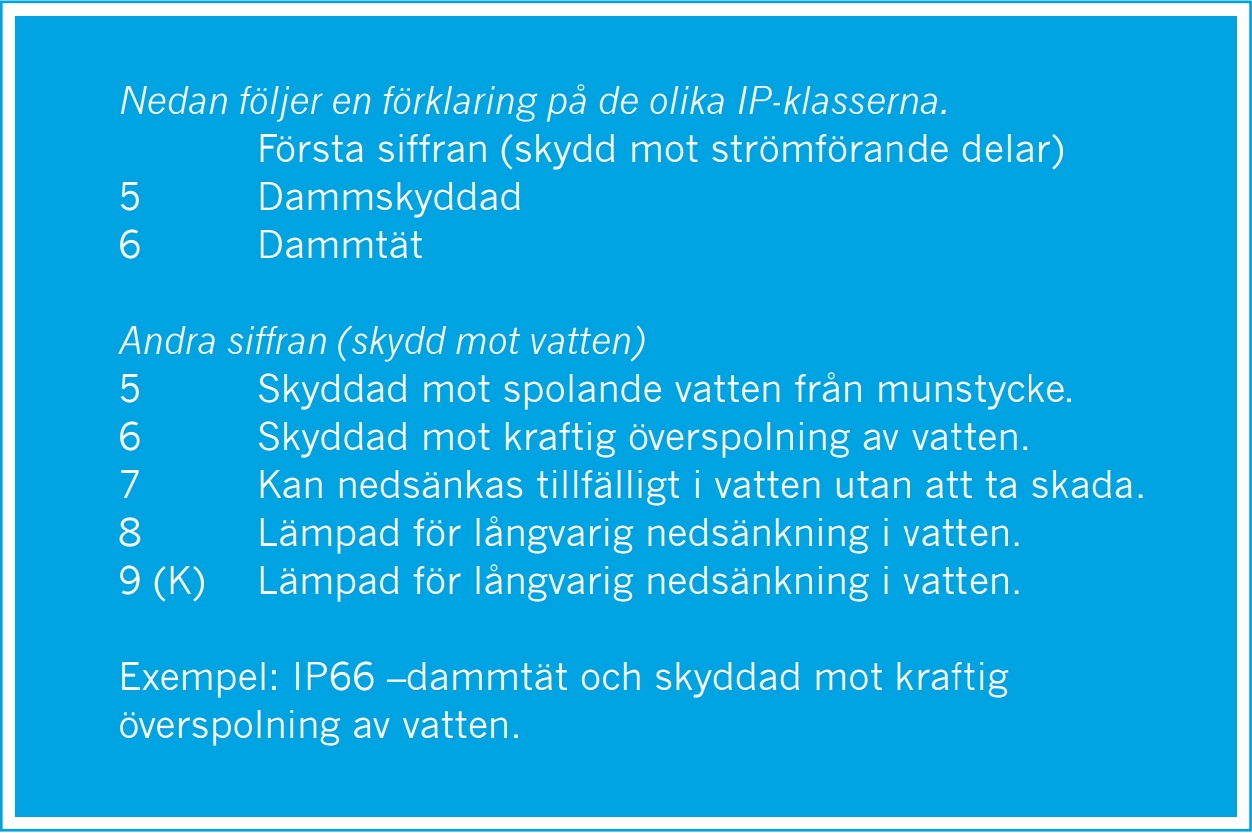 IP-klasser för extraljus